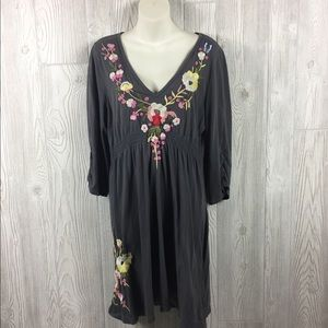 Johnny Was Gray V-neck Embroidered Cotton Dress